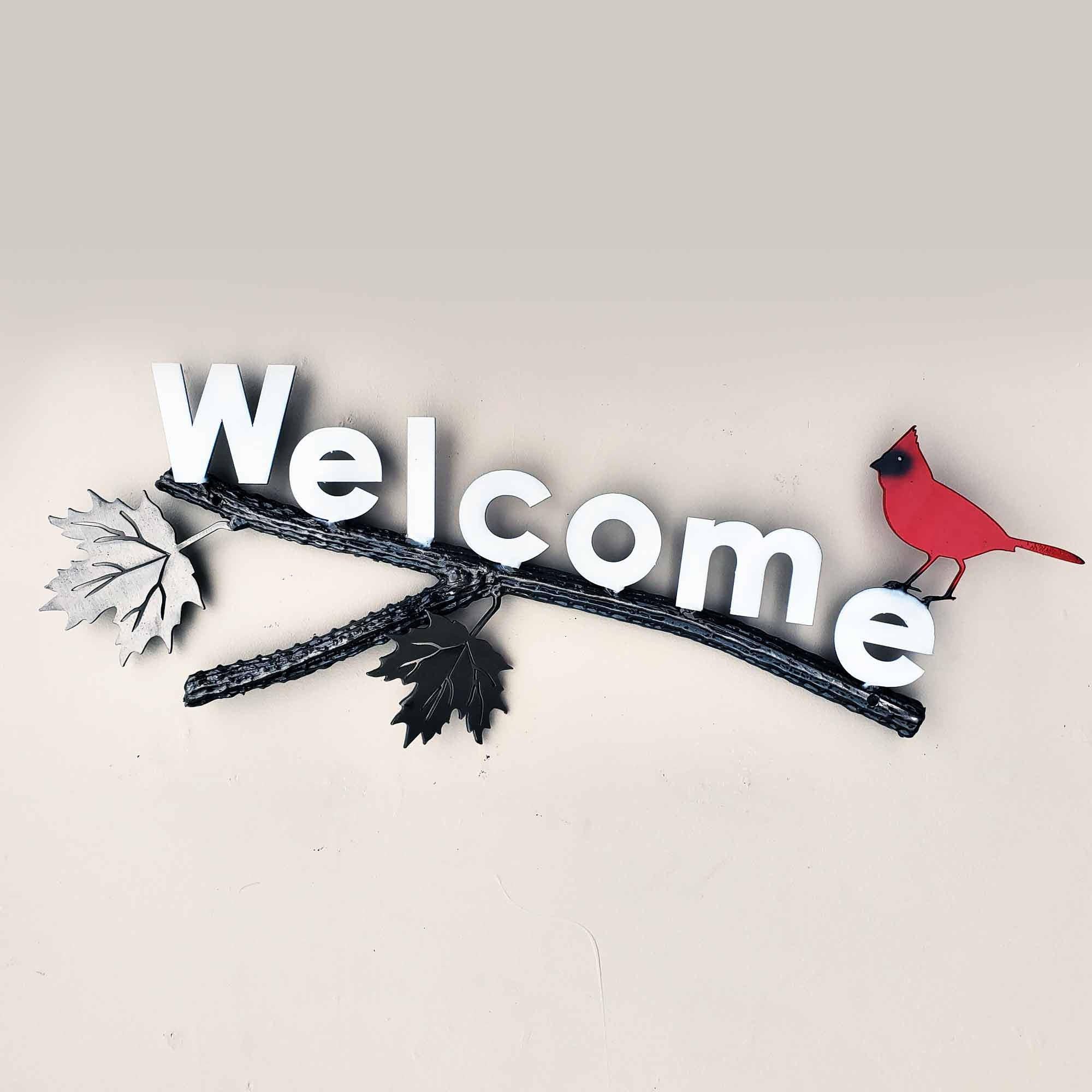 Metal Wall Art Welcome Sign with little Red Cardinal Bird
