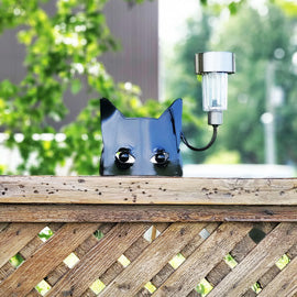 Black Cat Fence Art Solar light