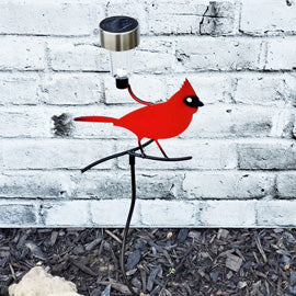 Metal Cardinal Garden Stake Fence Art Solar light | Garden Decor