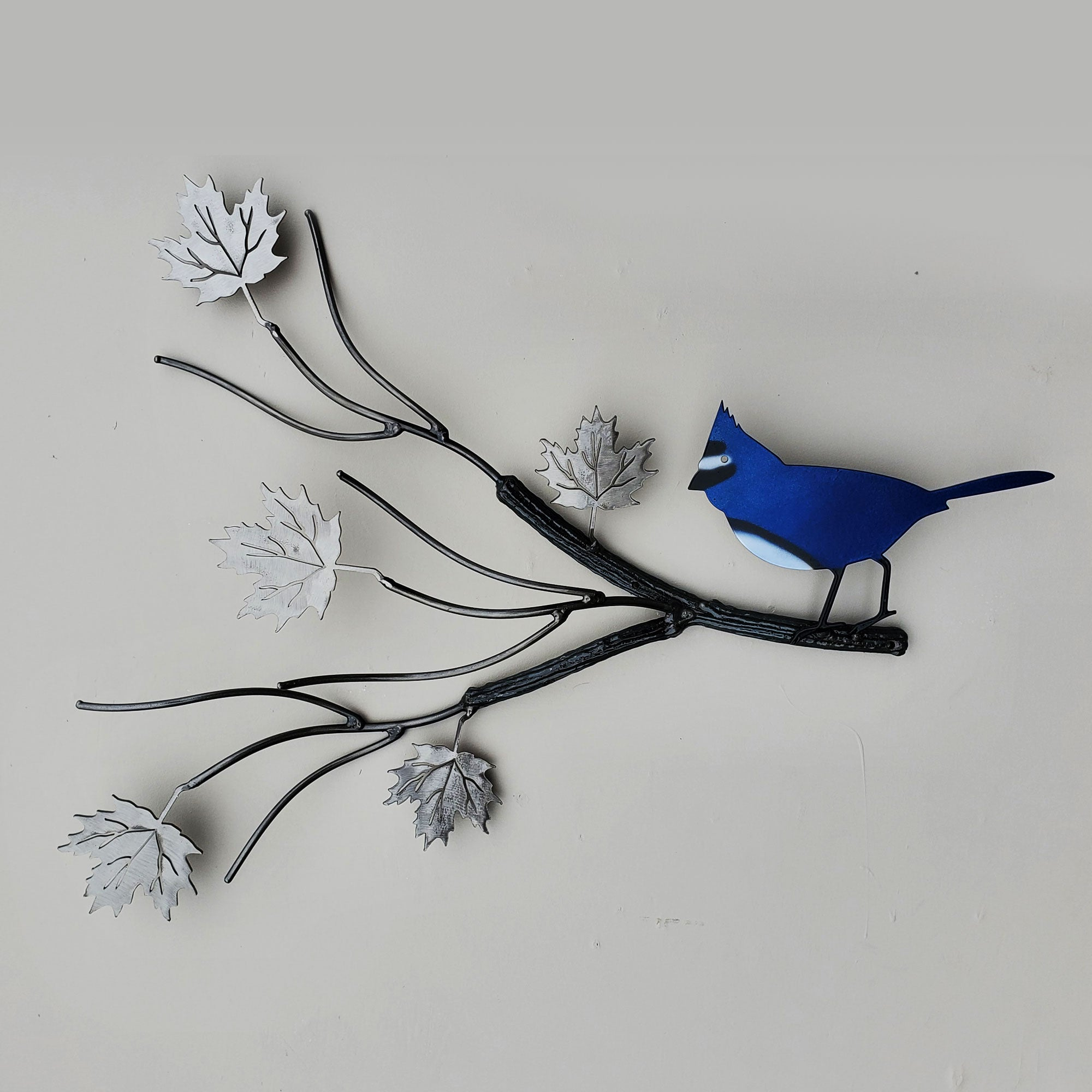 Metal Bird Art Blue Jay Home Décor Yard Art - Practical Art Canada