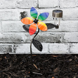LGBTQ+ Décor Solar Light Flower Garden Stake with Pride Flag Color Interchangeable Flowers Metal Art