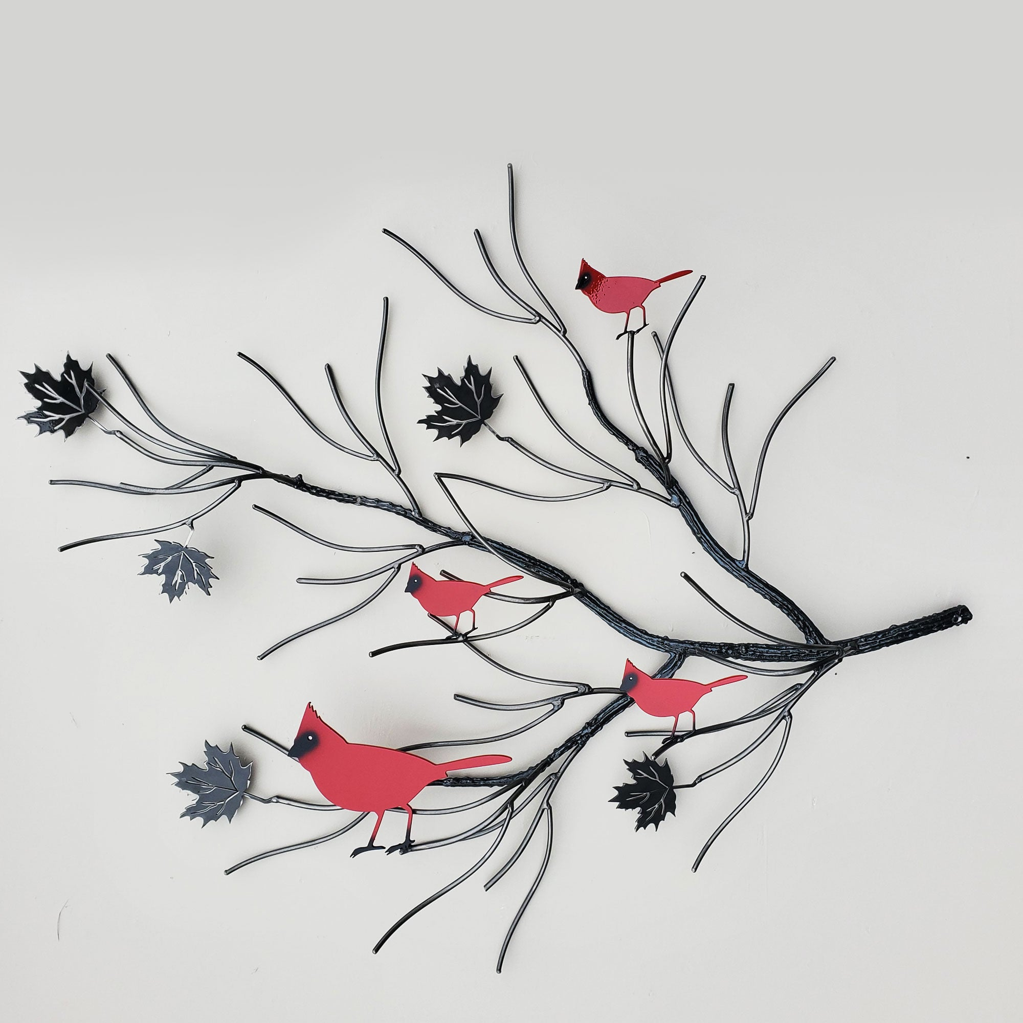 Red Cardinal Family Metal Bird Art with Maple Leaf Branch