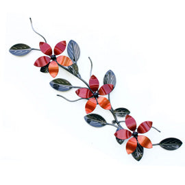 Linear Three Flower for Corporate Gift, Housewarming Gift Ideas | Metal Vine Wall Art Home Decor