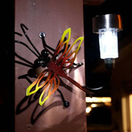 Small Exotic Dragonfly Solar Light For Fences or Walls