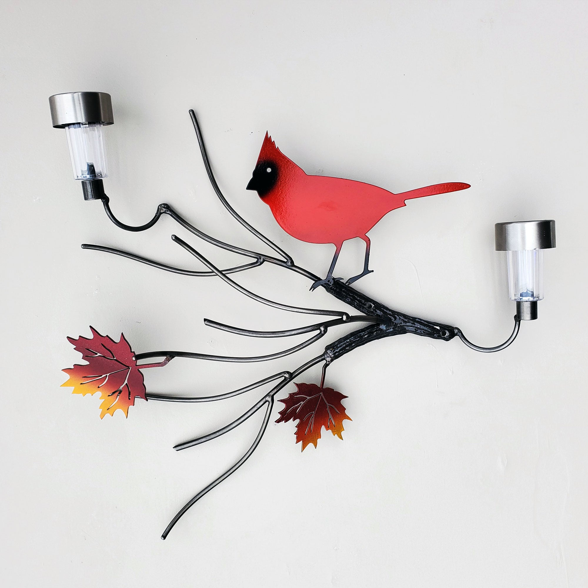 Red Cardinal Metal Bird Art with Maple Leaf Branch Solar Light