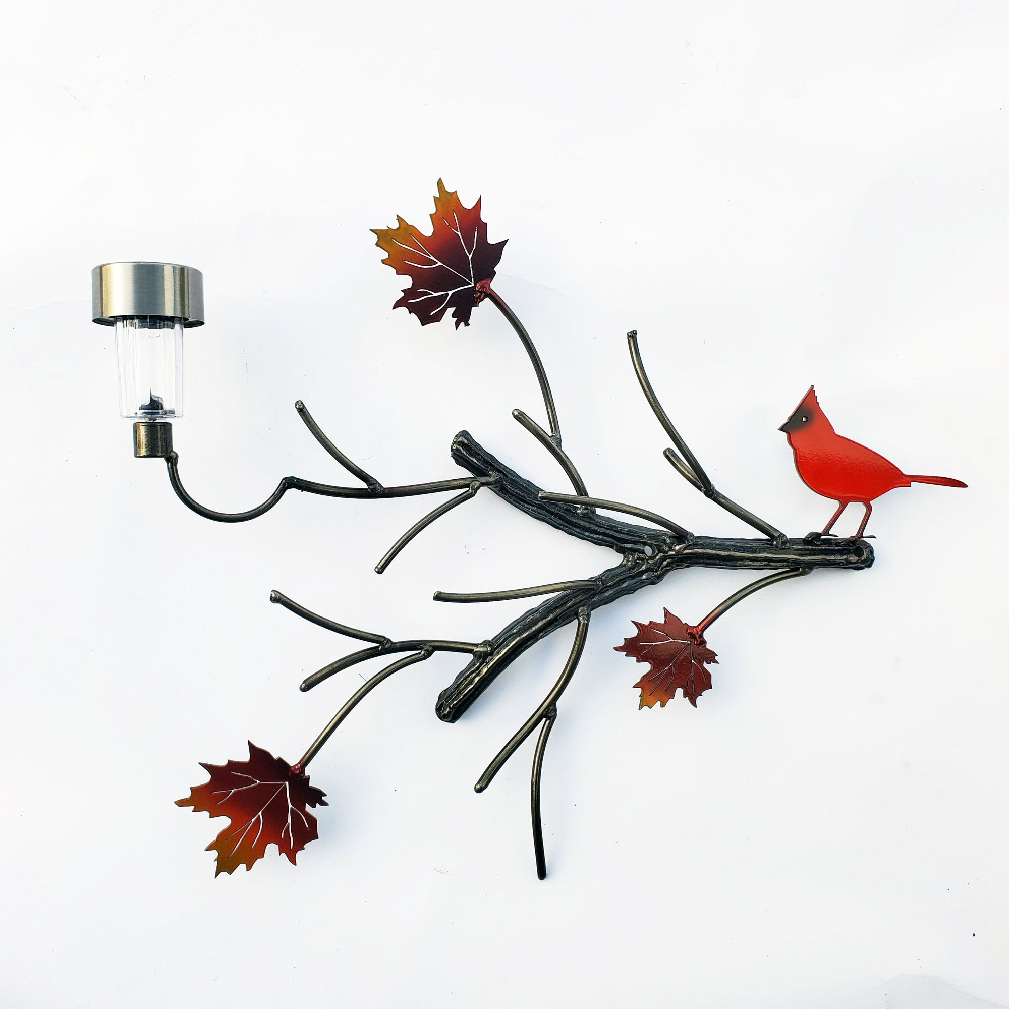 Metal Art Red Cardinal with multiple tree branchesHome Yard Art Garden Decoration