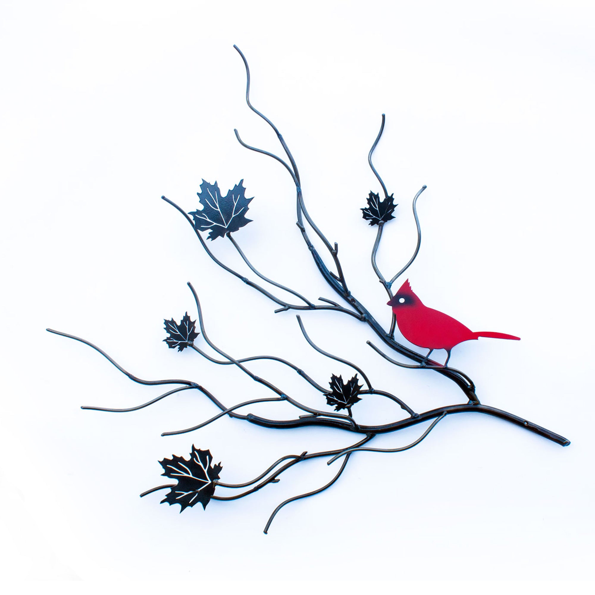 Metal Cardinal Red Bird With Maple Leaf Tree Branches Backyard Decor Art