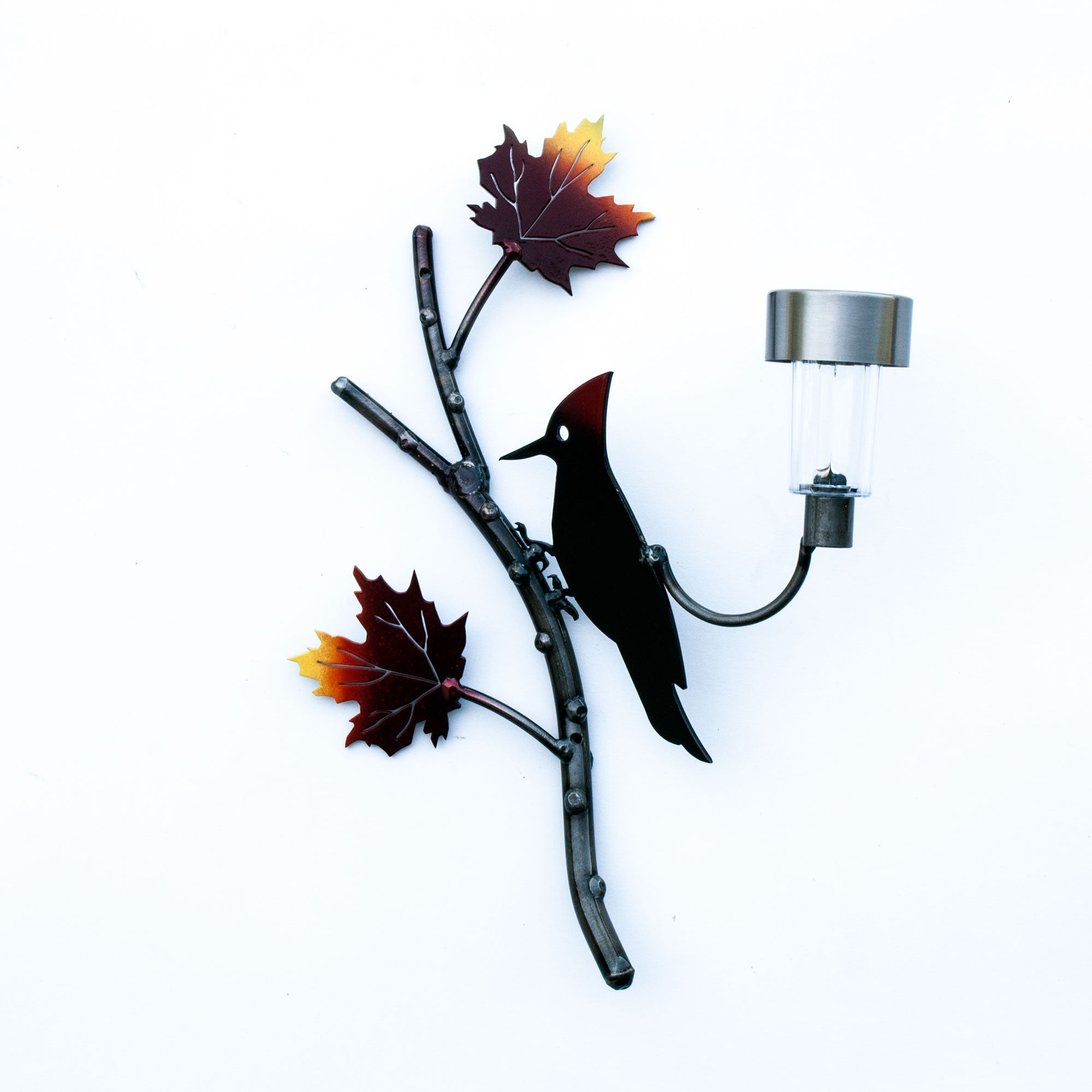 Red Crest Woodpecker Bird with Two Maple Leaf Solar Light