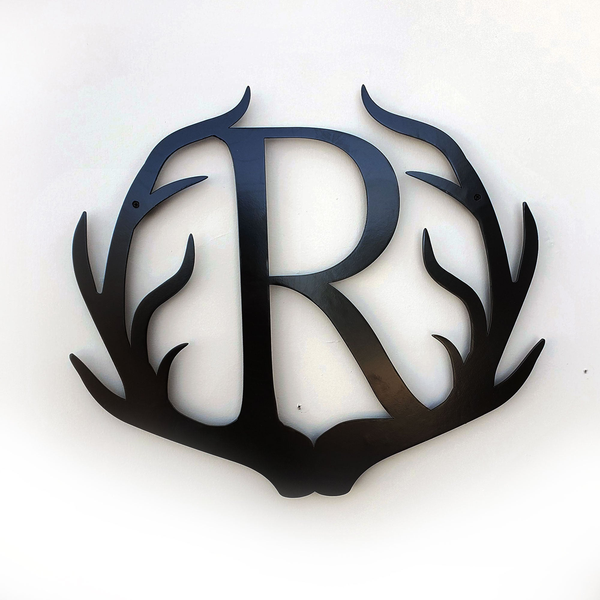 Personalized Initial Antler Sign Antler Metal Art