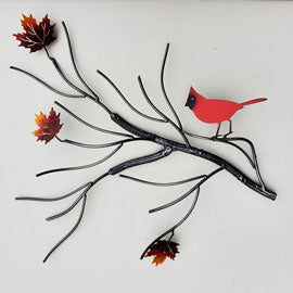 Metal Bird Art Red Cardinal Fall Maple Leaf Home Décor Yard Art - Practical Art Canada