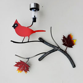 Metal Bird Art Small Red Cardinal Solar Light Home Décor - Practical Art Canada