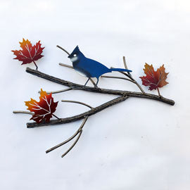 Maple Branch With Blue Jay & Autumn Leaves