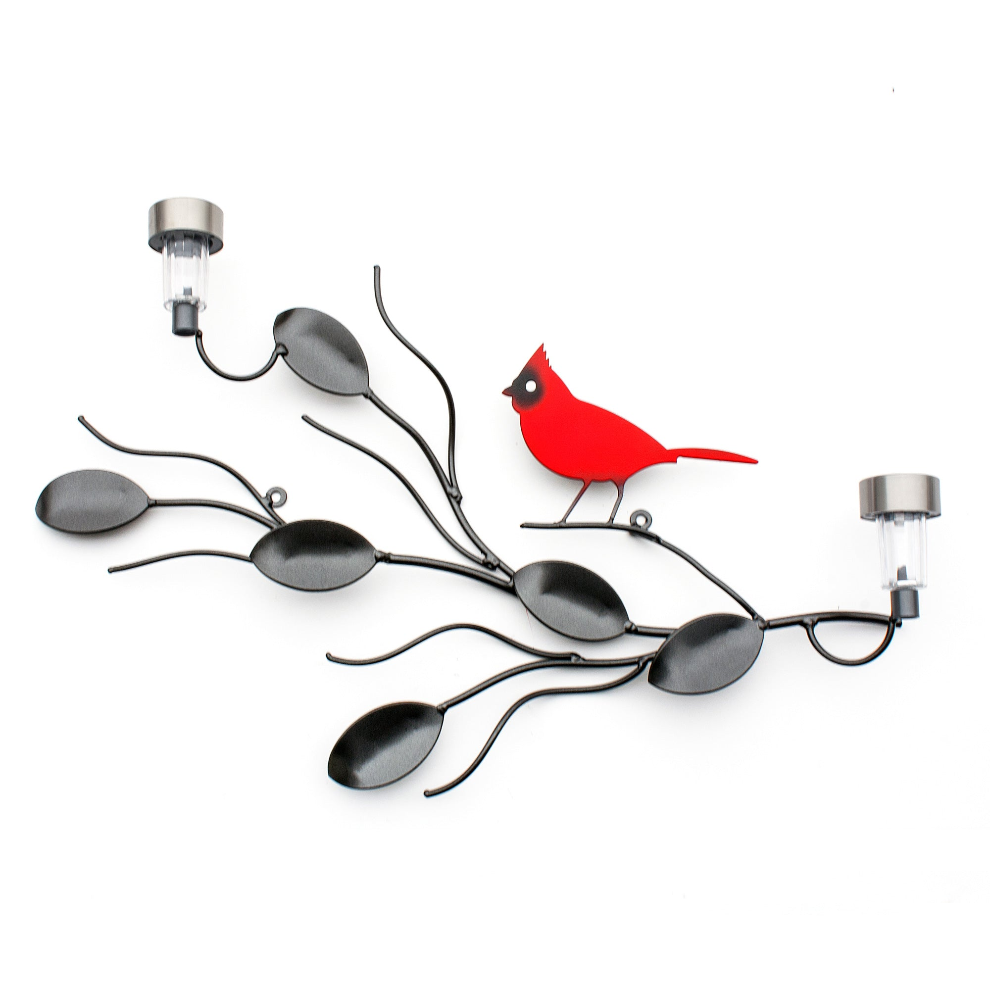 Metal Art of Red Cardinal and vines for Home Wall Art Garden Decor