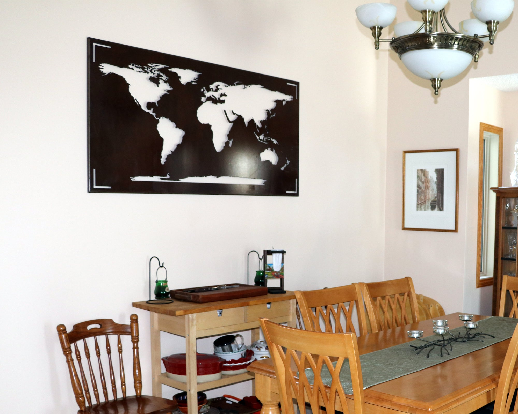 World Map Wall Art With Metal Frame