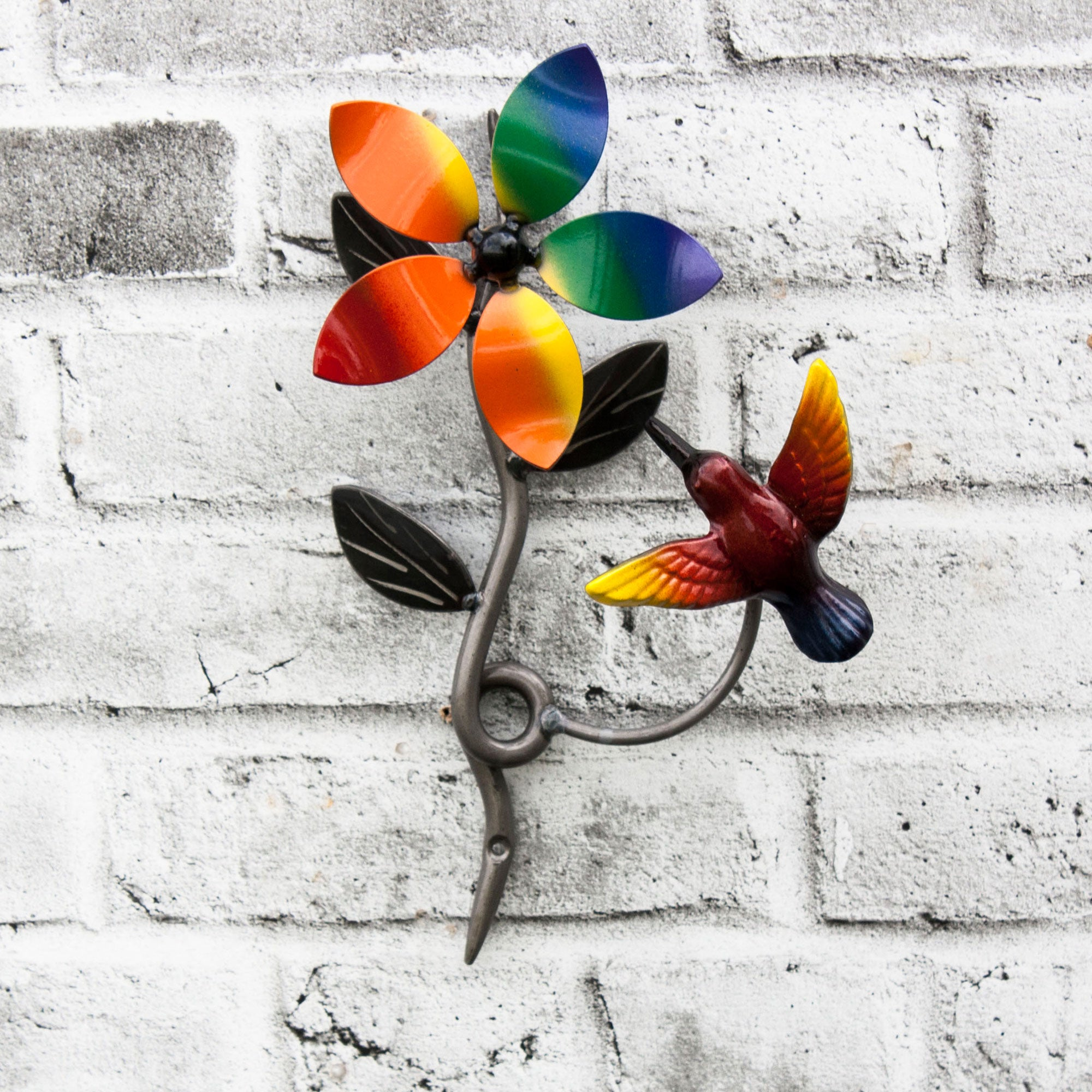 LGBTQ+  Décor Wall Mounted Clear Metal Flower Vine And Humming Bird  with Pride Flag Color