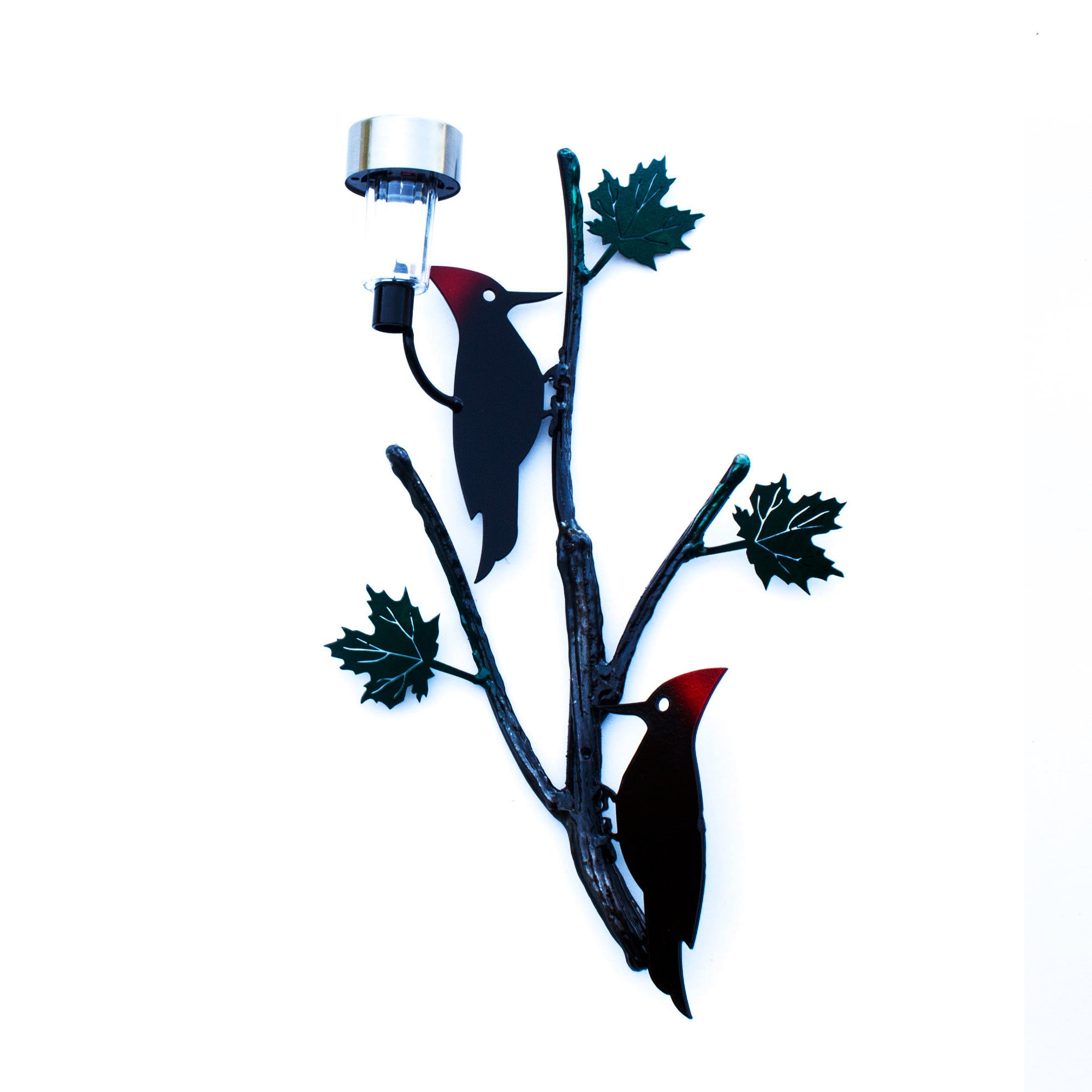Two Metal Red Crest Woodpecker Bird With Black Maple Leaf