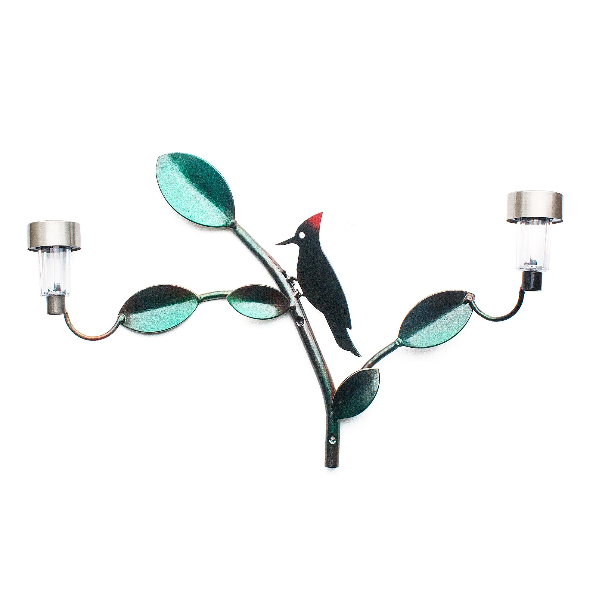 Woodpecker perched garden ornament on Welded Bar Solar Lights