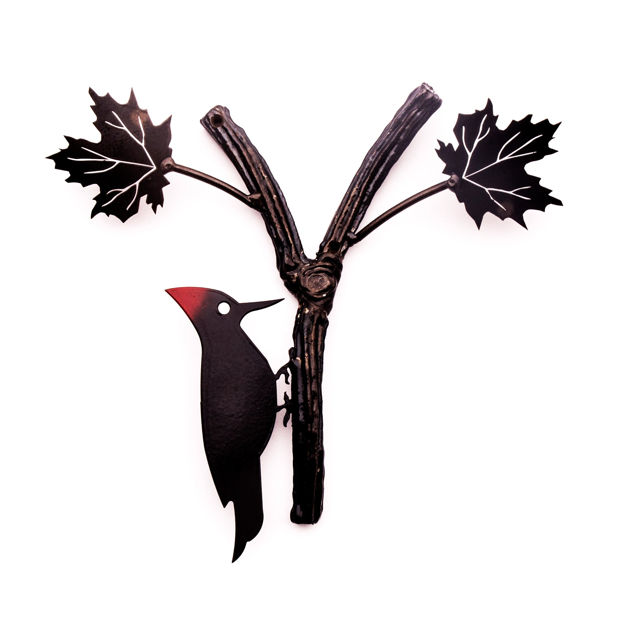 Woodpecker Sculpture Metal Wall Art Bird with Red Crest for Home Garden Decor/Outdoor Art