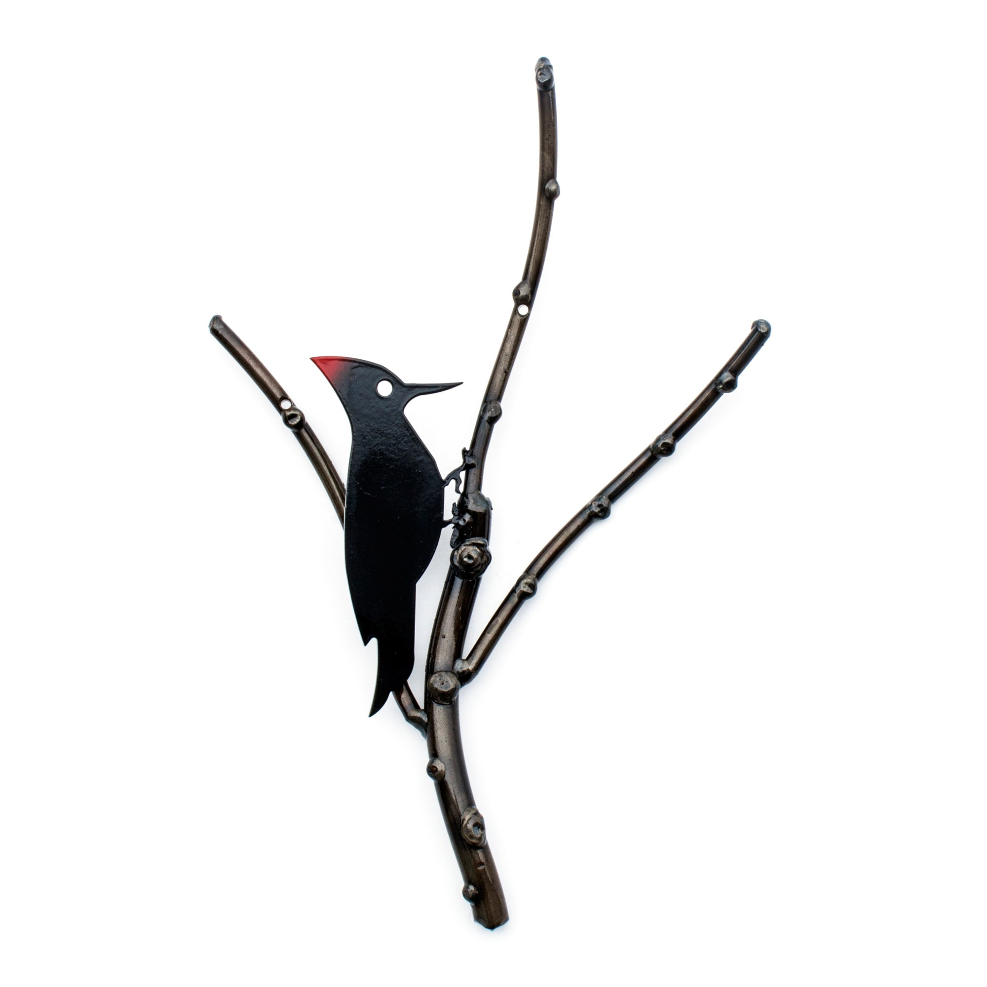 Woodpecker on decorative Branch Metal Wall Sculpture - Wall Decor