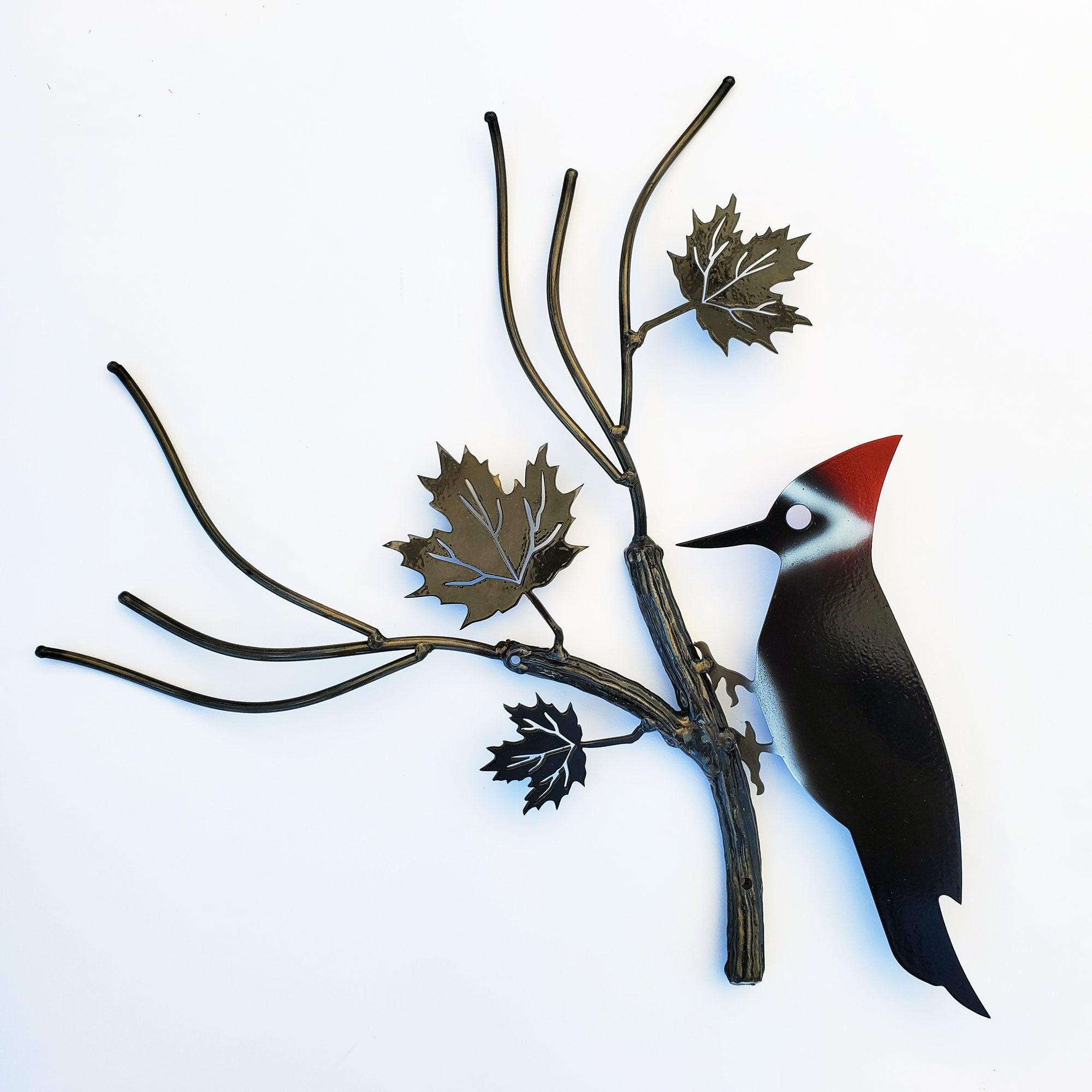 Articulated Metal Wall Art Woodpecker Large Welded Branch Garden Decor | Home Decor Metal Art