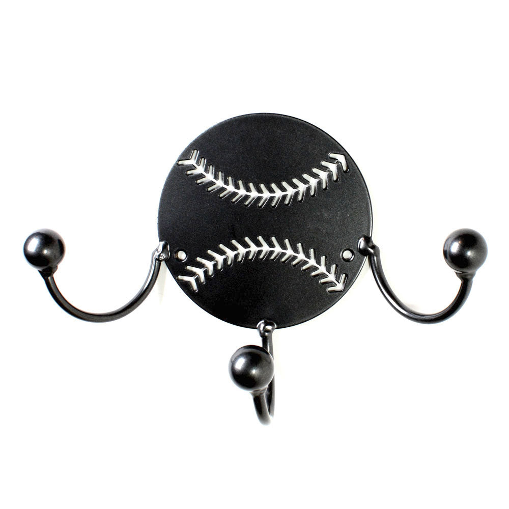 Baseball Metal Wall Art. Baseball Gift For Coach & Players Award Display: Wall Mounted Holder With Wrought Iron Hooks Made By Practical Art