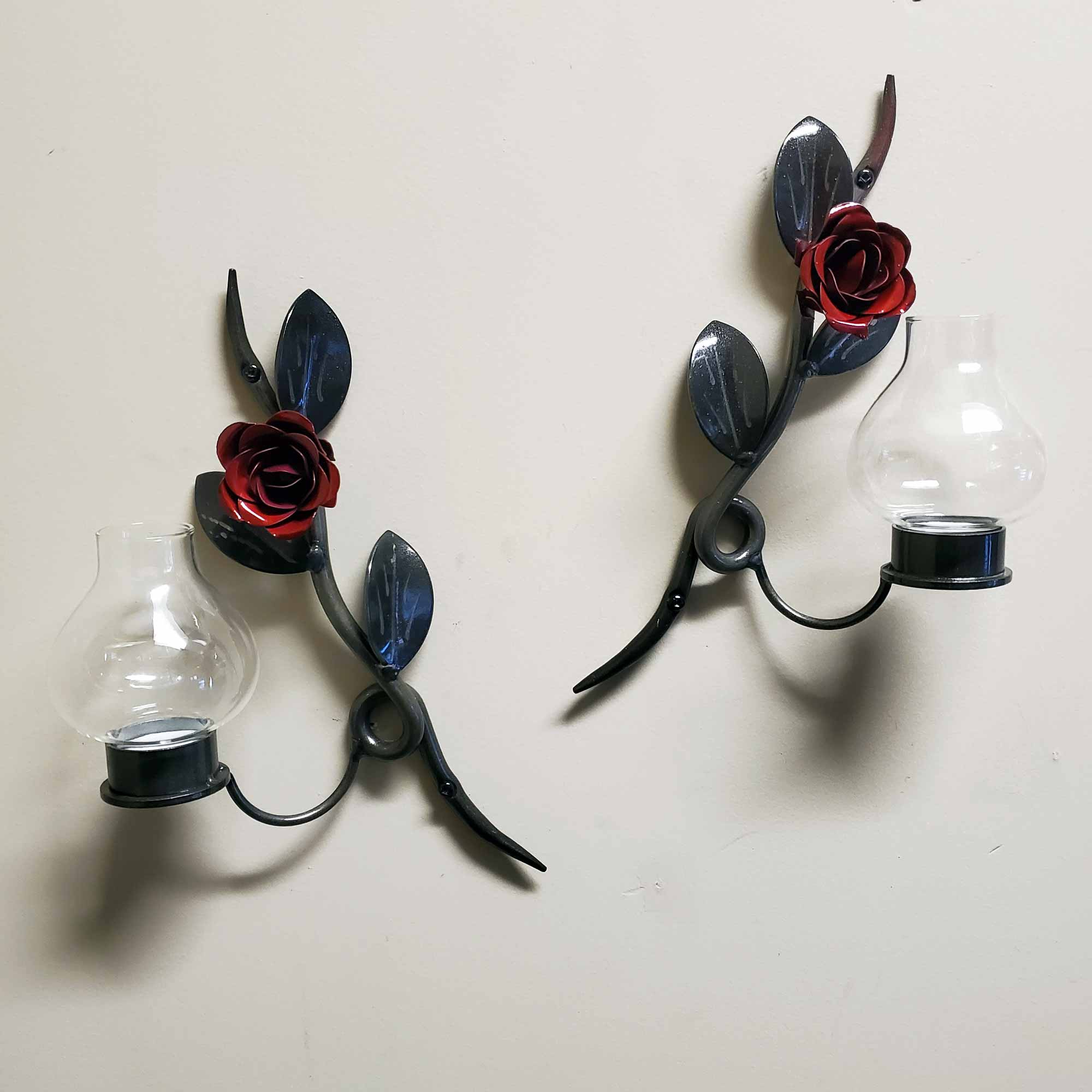 Set of 2 Red Rose Metal Wall Art Candle Holders