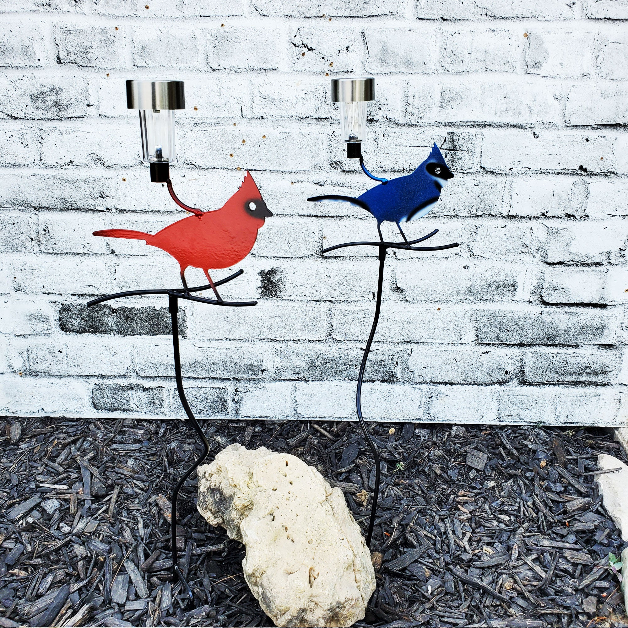 Metal Cardinal and Blue Jay Garden Stake Fence Art Solar light | Garden Decor