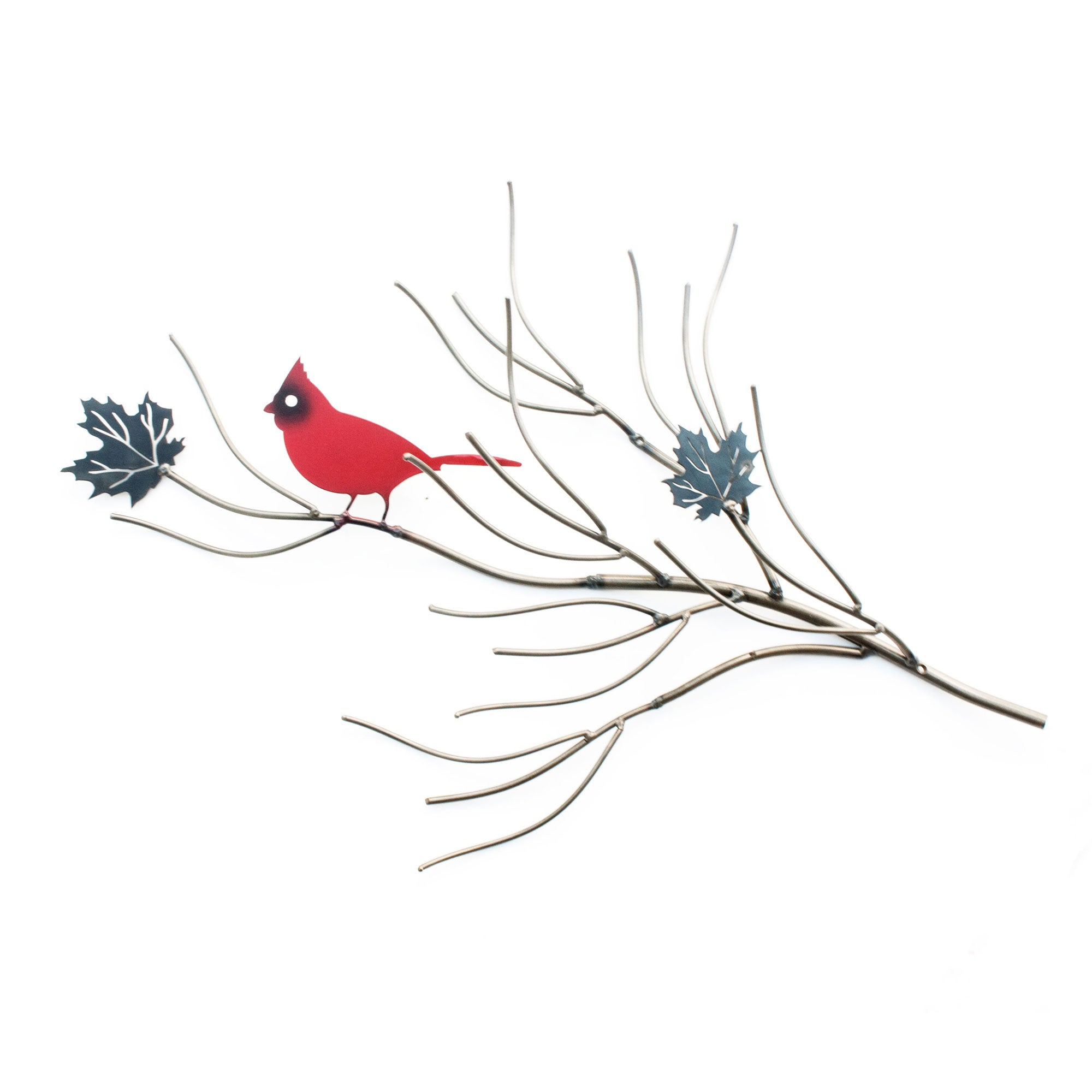 Yard Wall Art Red Cardinal Perched on branch