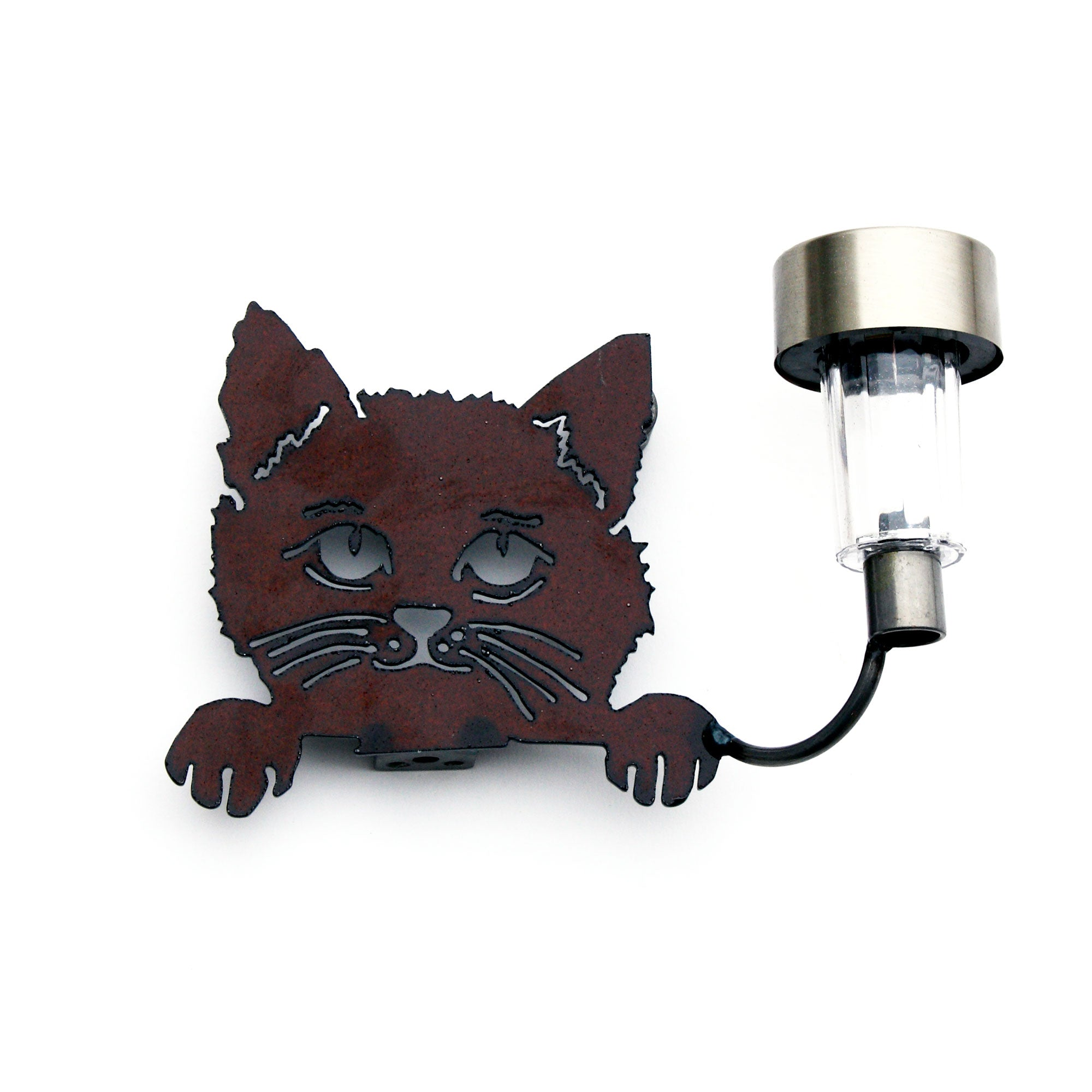 Cat with Paws – a pet for Garden and Fence Metal Wall Décor with Solar Lights