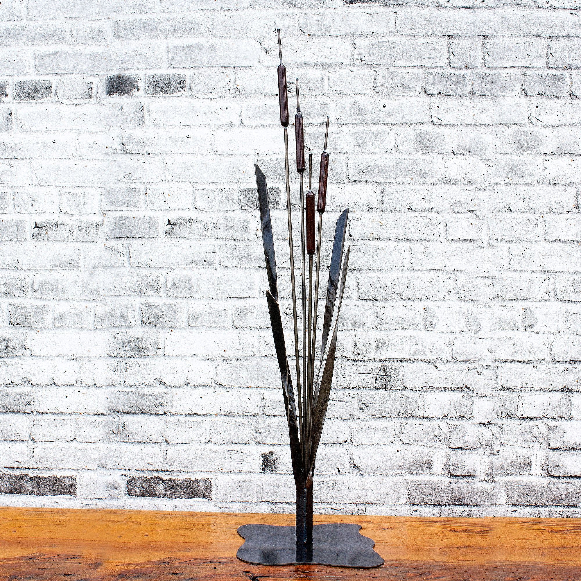 Cattail Bulrush Sculpture for deck or living room Metal Art Decor 48 inch
