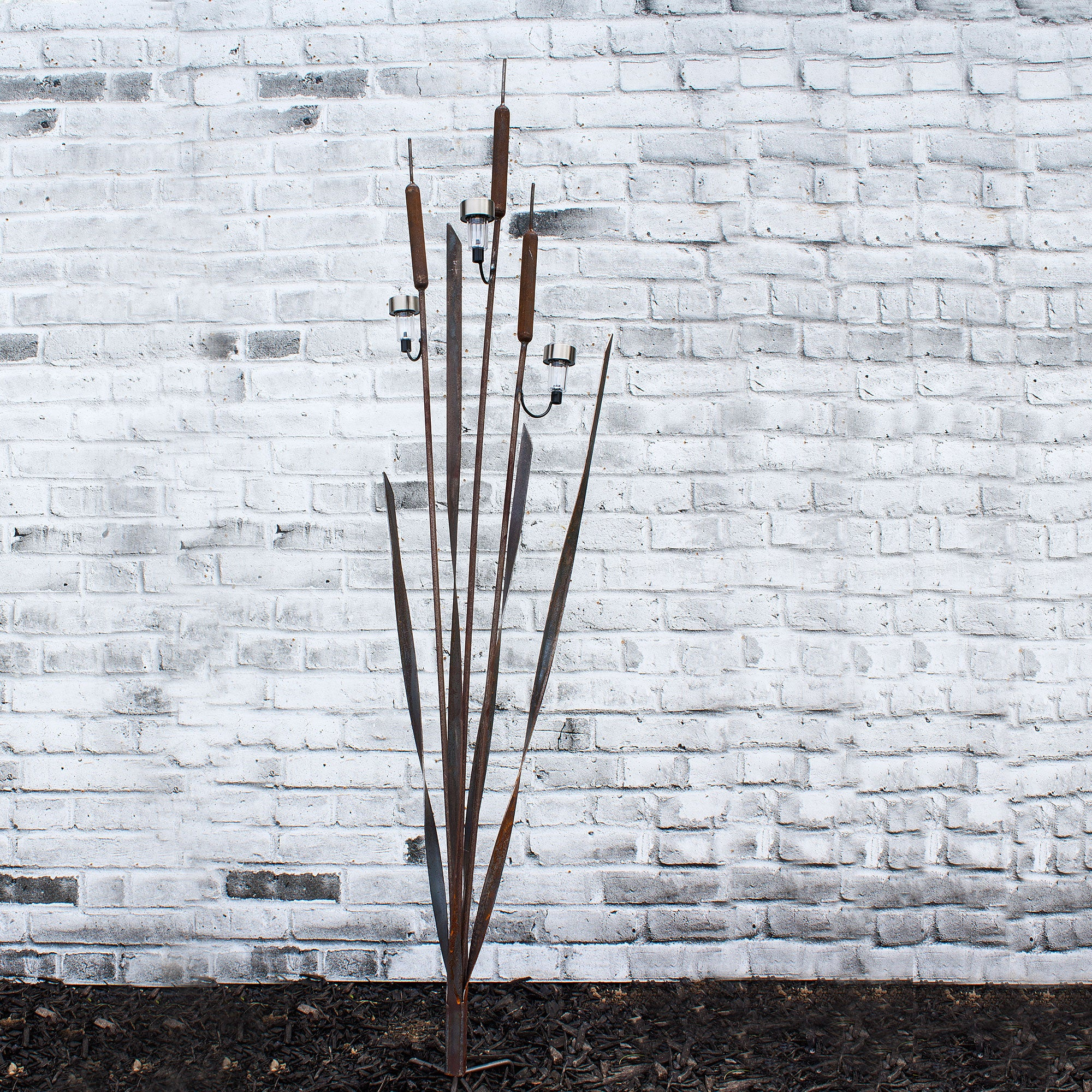 Large Rustic Cattail Bulrush Sculpture with three solar lights Metal Art For Home Decor