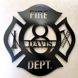 Custom Fire Department Metal Art Sign Silhouette for Home Décor | Gift Items