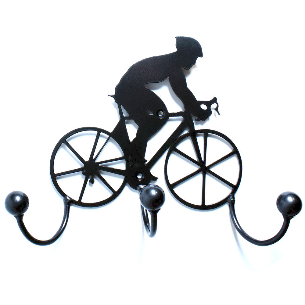 Metal Wall Art Racing Bike: Cycling Coach Gift + Cyclist Award Holder. Wall Mounted Bicycle n Rider Silhouette + Hooks. Sports Award Holders