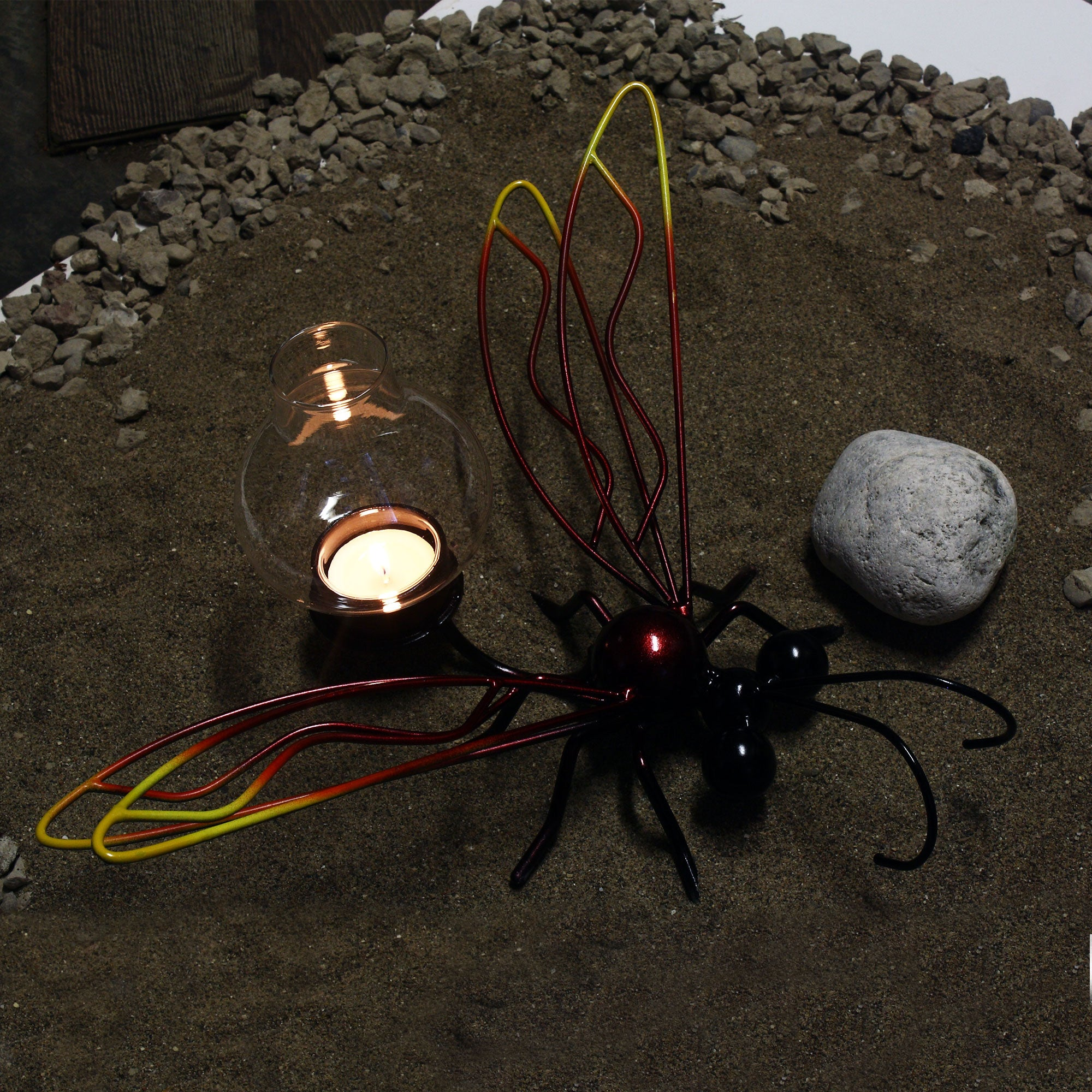 Firefly candle holder ! Metal garden art candle holder ! Gifts By Practical Art!