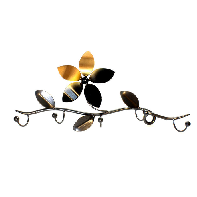 Handcrafted Metal Art Flower Hooks with five hook for coat towel and items