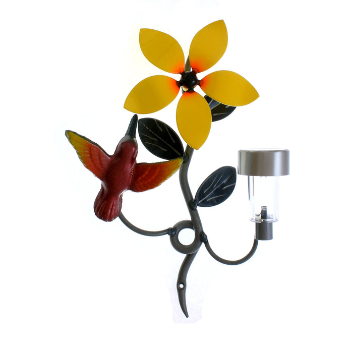 Home Decor Colourful/Colorful Metal Hummingbird with Solar Light For Walls. Housewarming Gift &/Or Occasional Gifts
