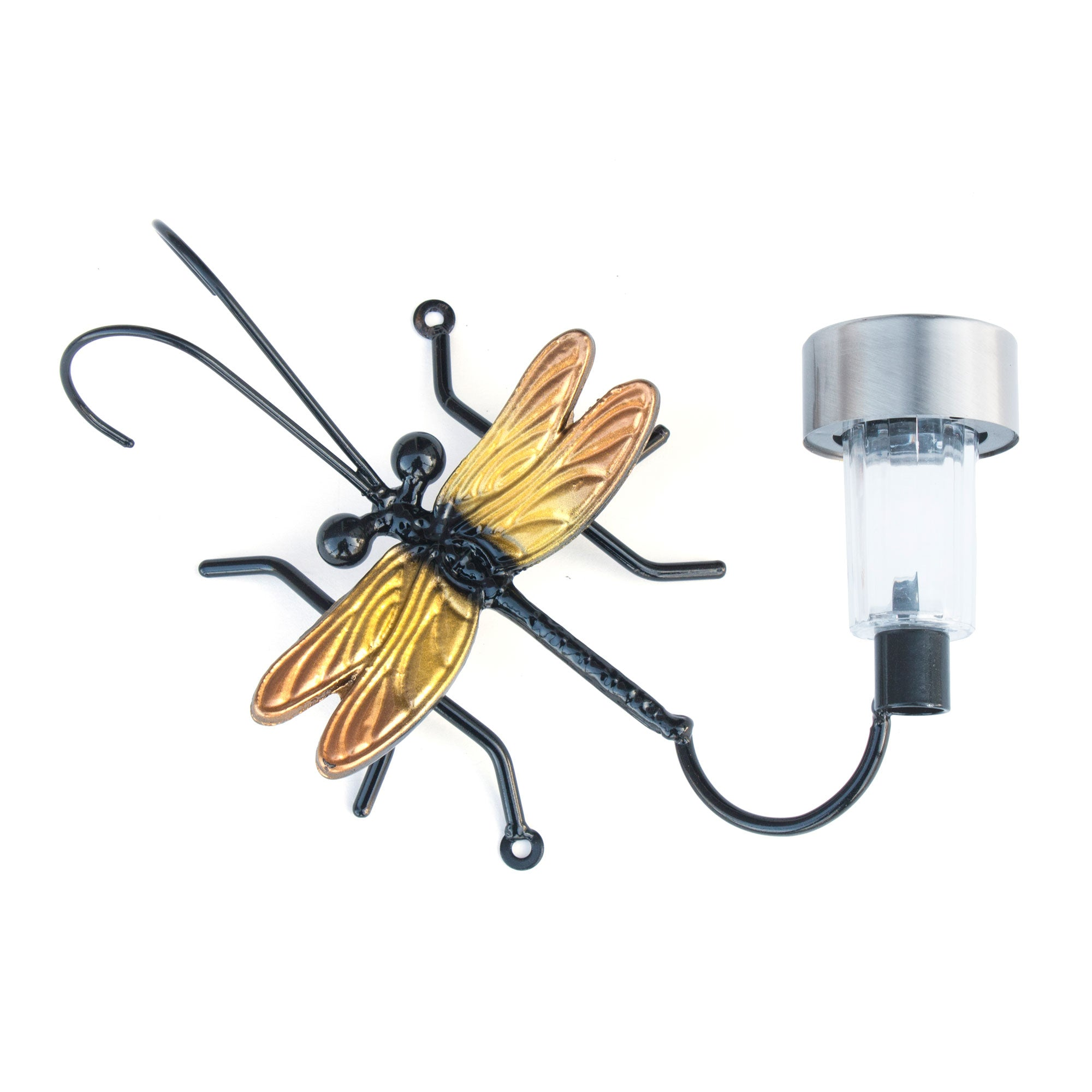 Metal Dragonfly Solar Light For Fences or Walls: Wall-mounted Metal Art Dragonflies
