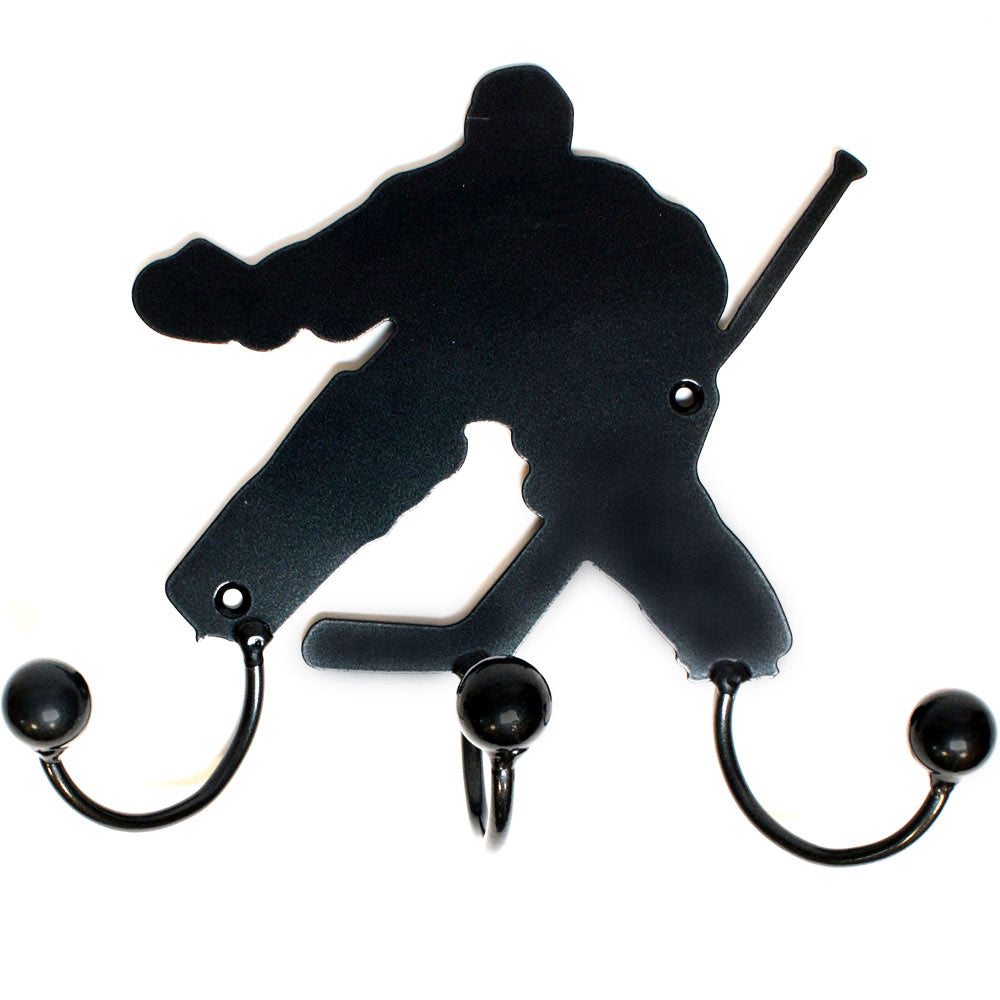 Hockey Goalie Award With 3 Hooks: Wall-mounted Metal Art Goalies