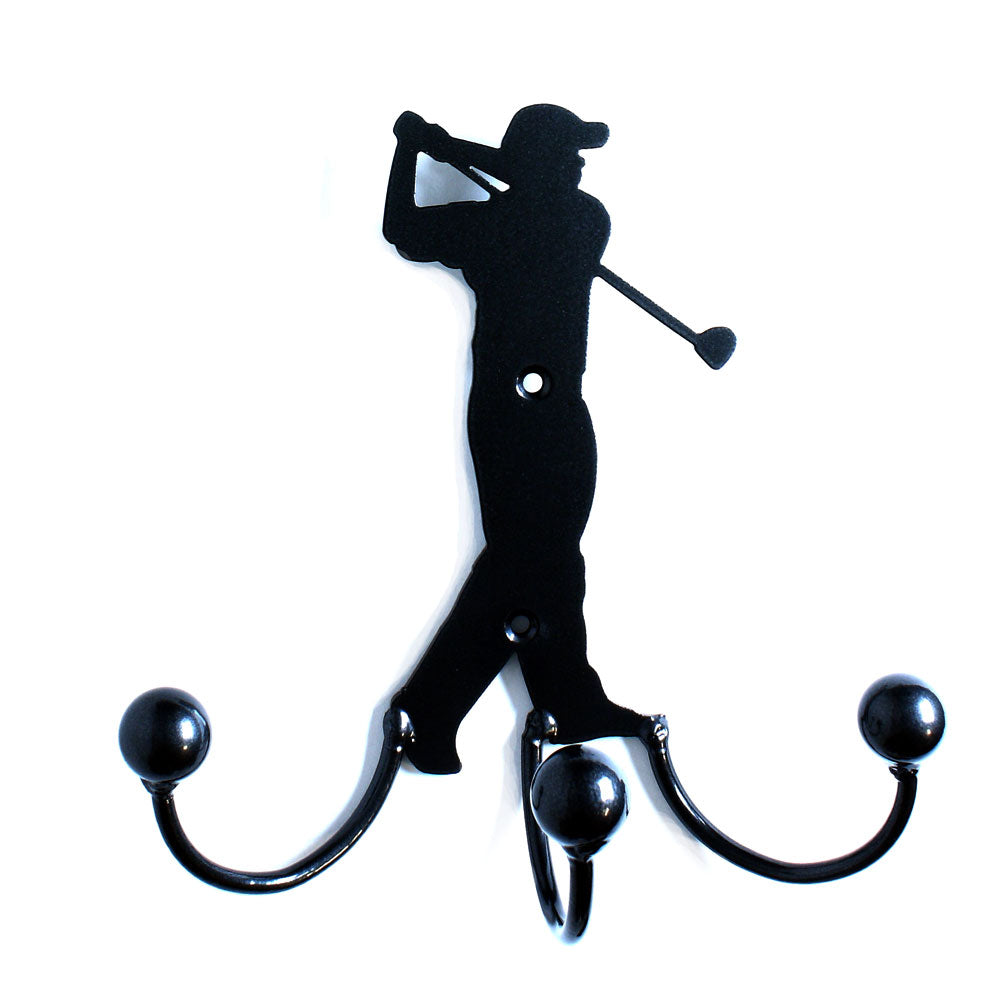 Metal Wall Art Male Golfer Golfing With Hanger Hooks For Coats, Jackets, Awards + Hang Golf Items. Great Birthday Gifts