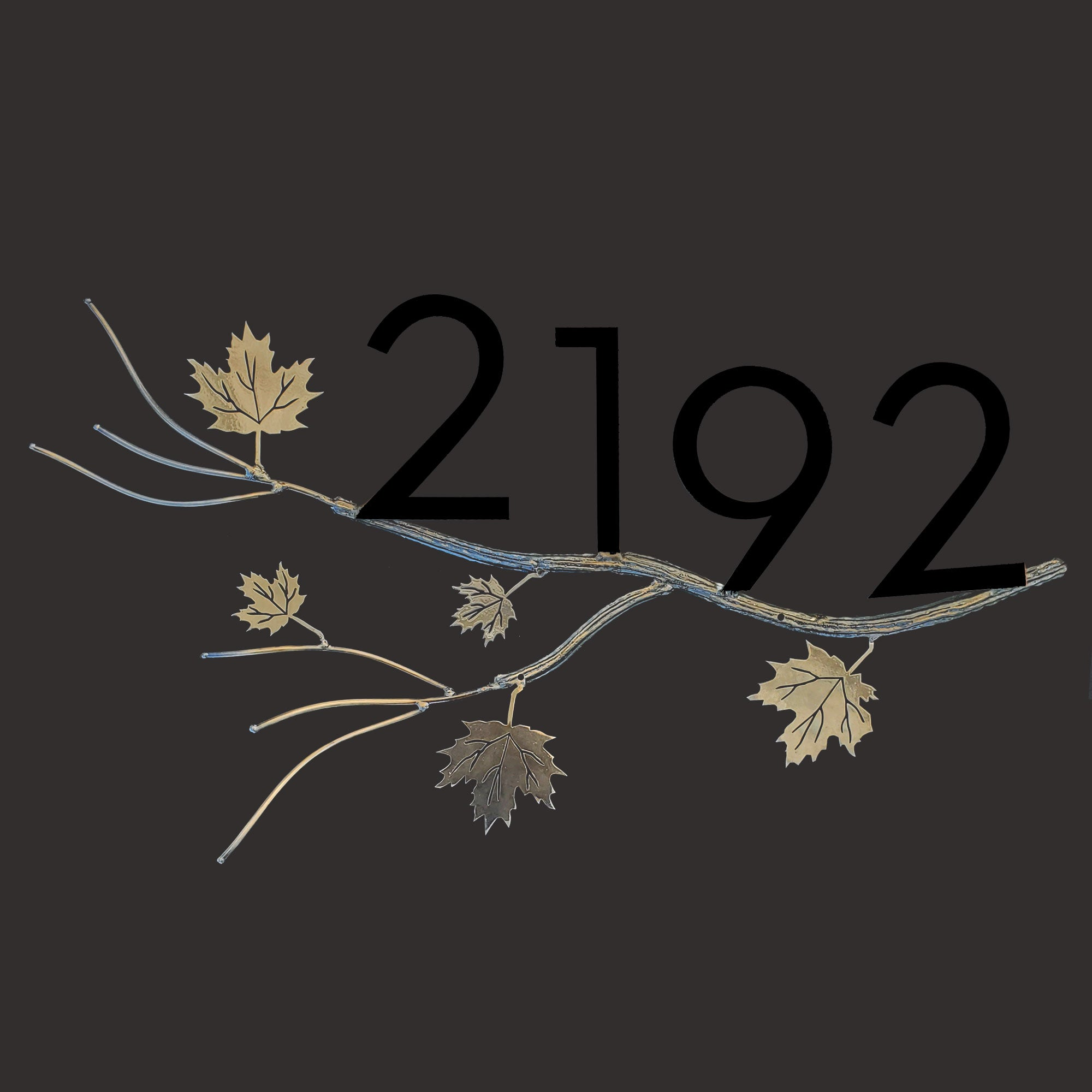 House  Numbers on Hand Craft Maple Tree  Branch , Address Plaque, Front Porch Decor, Metal Signs