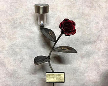 Rose Flower With Solar Light And Custom Engraved Plaque: Metal Art Valentine's Award