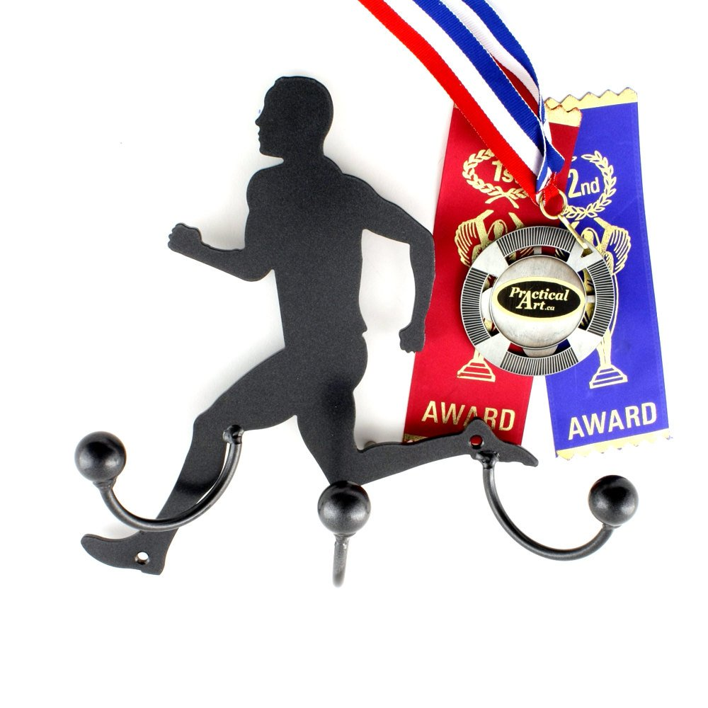 Runner Metal Wall Art Male Silhouette Award Holder Hooks: Running Coach Gift + Runners Medal Display Award Holders Made By Practical Art