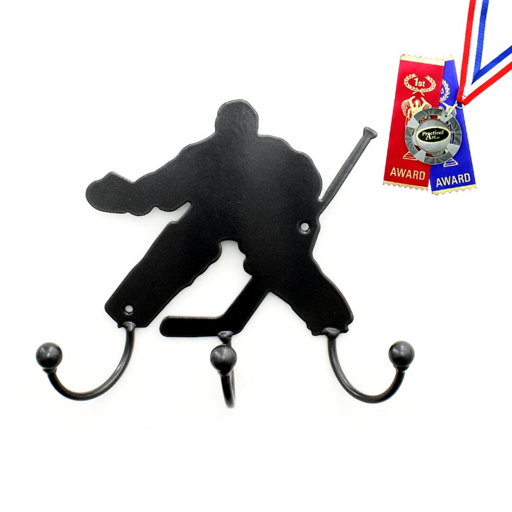Hockey Wall Art Gifts: Metal Art Hockey Goalie Silhouette Award Holder Hooks Hockey Coach Gift For Hockey Goalie Medal Display Award Holders