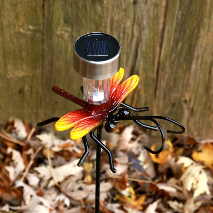 Outdoor Decor LED Light Dragonfly + Garden Art: Stake + Solar Light Metal Insect Yard Art For Birthday Present, Housewarming & Holiday Gifts