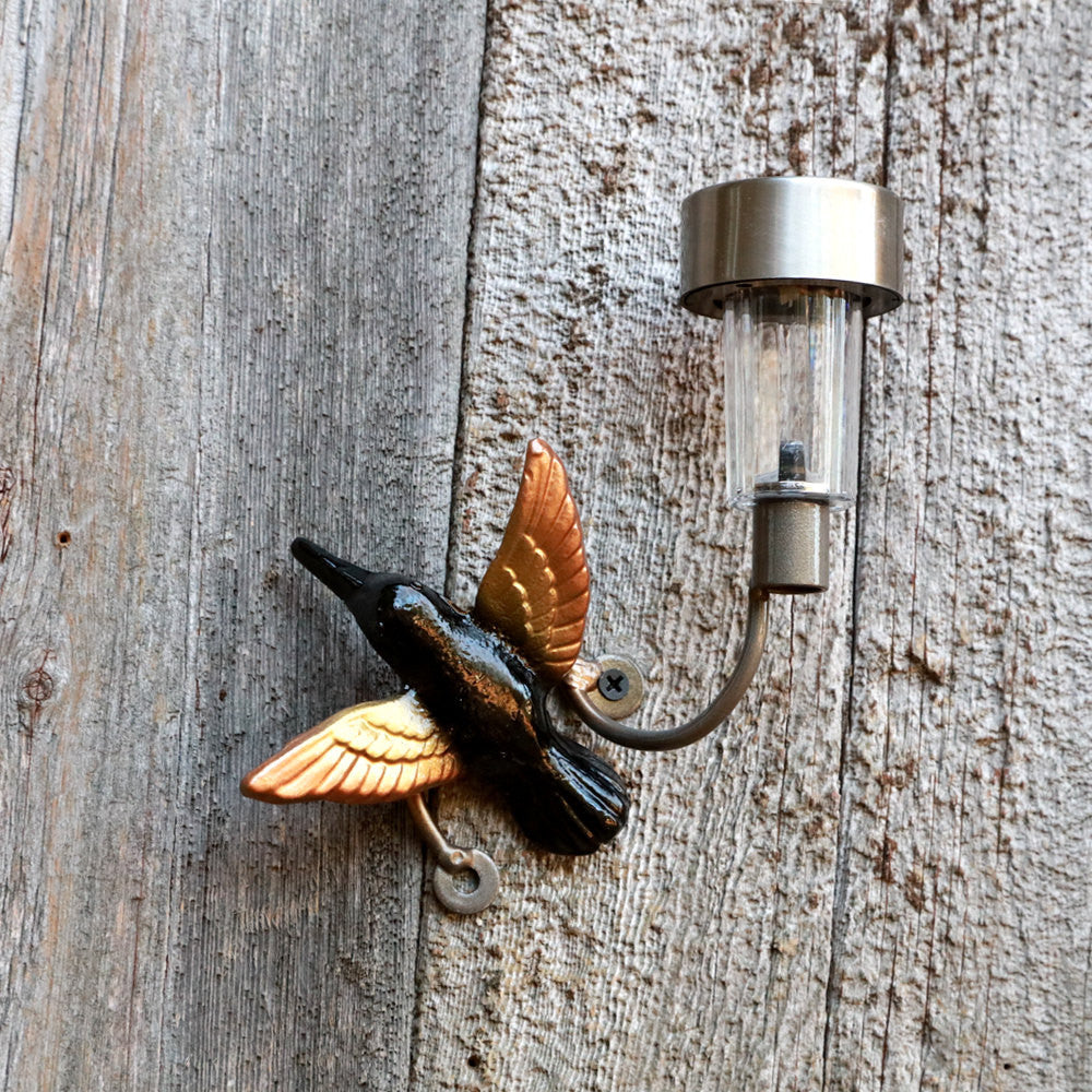 Hummingbird Solar Light For Fences or Walls: Wall-mounted Metal Art Hummingbirds