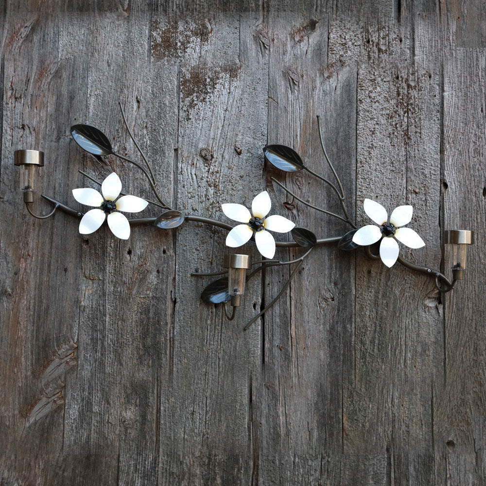 3 Metal Flowers On A Vine: with 3 Solar Lights, Home Decor, Linear Wall-mounted Metal Art