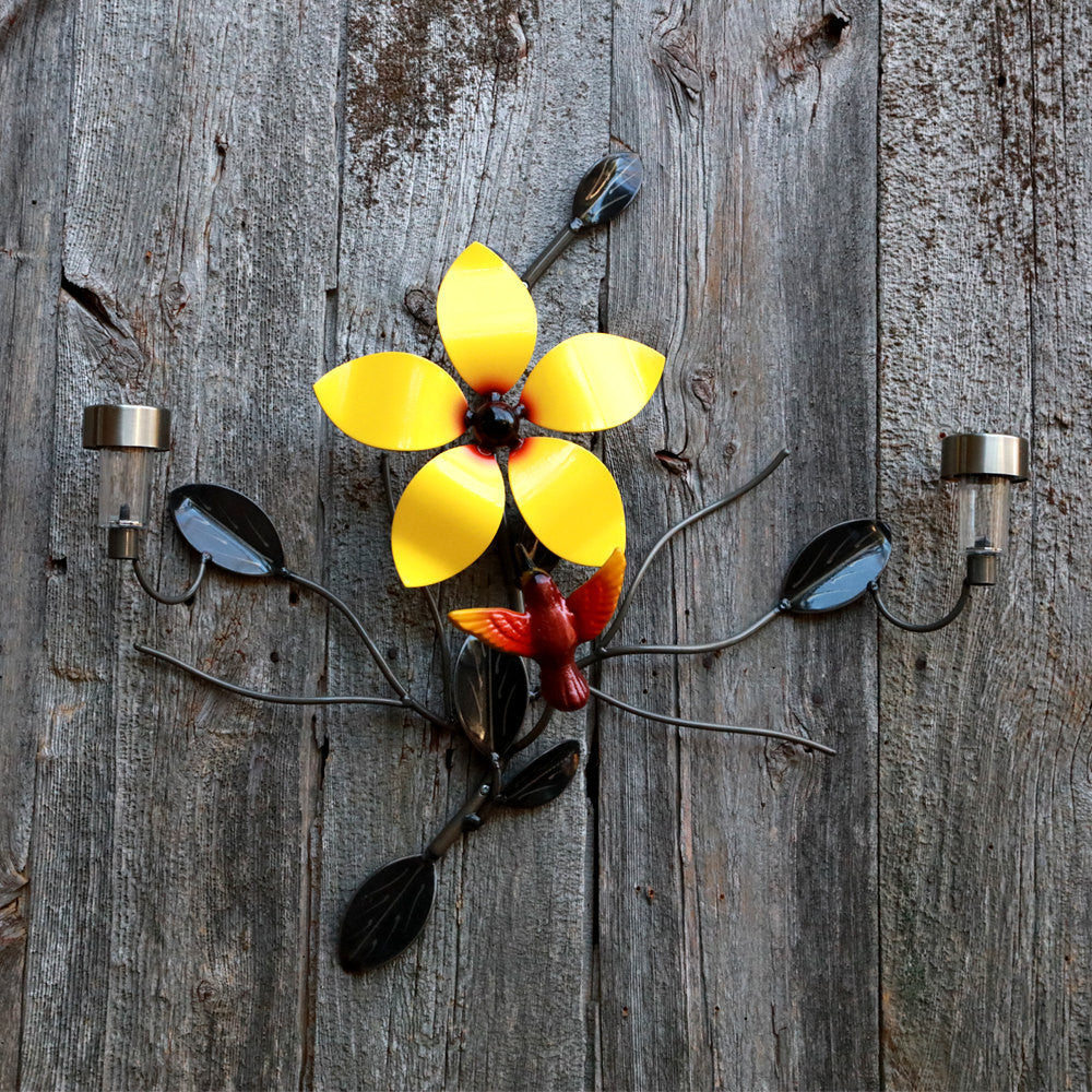 Buy this Wall-mounted Metal Flower with Hummingbird and two Solar Lights online here with Practical Art