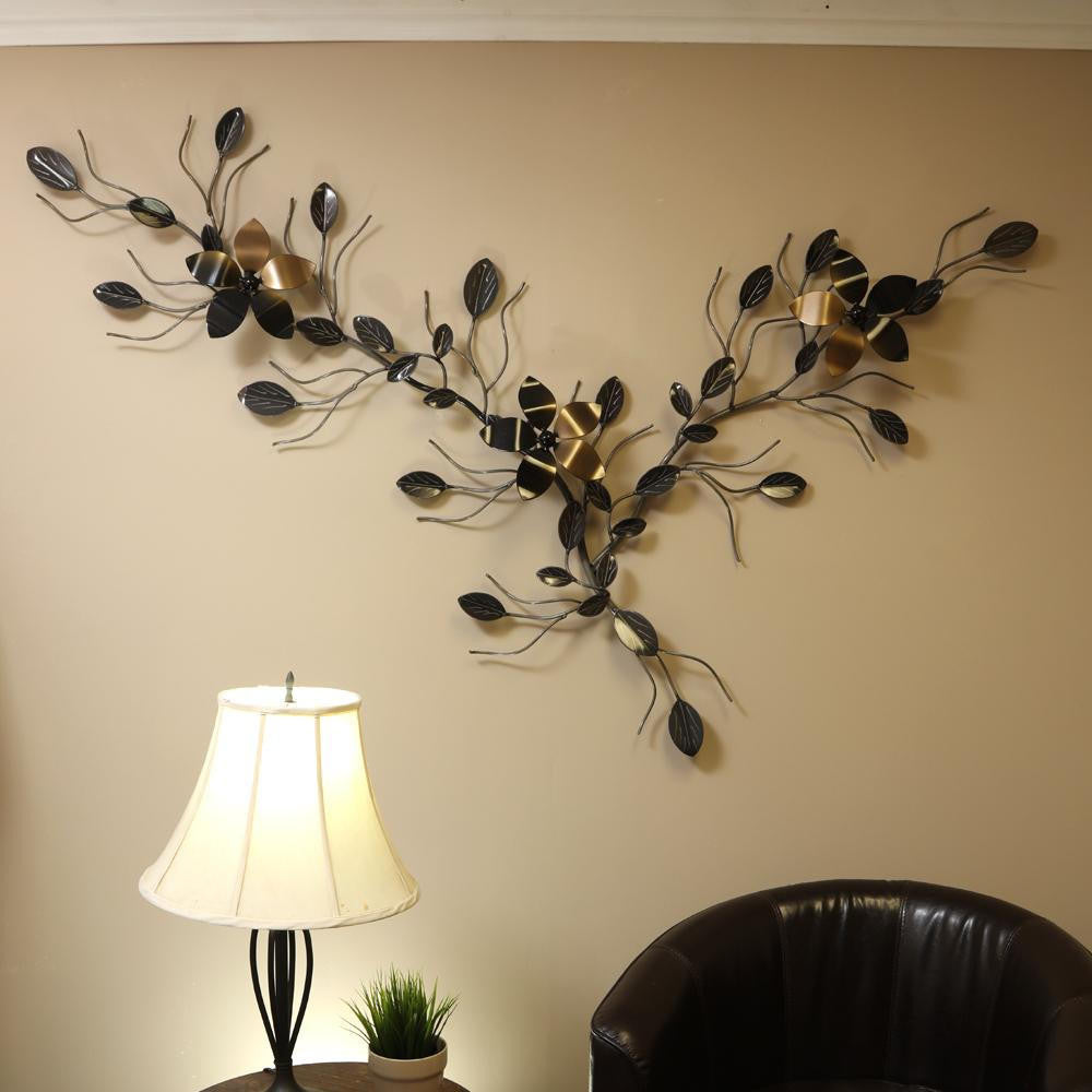 Triple Flower Vine: Metal Wall Art Decor / Décor With Interchangeable Flowers