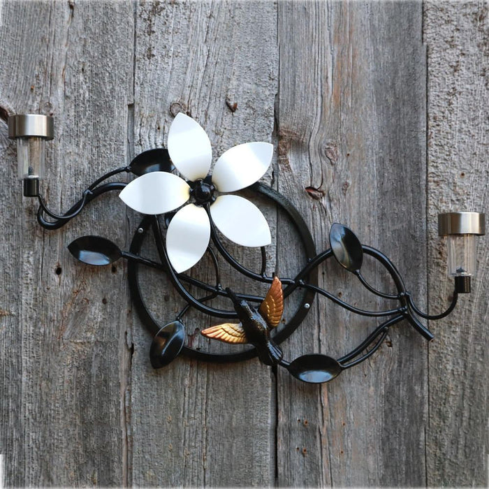 Wall-mounted Metal Flower And Hummingbird With Solar Lights Home & Garden Decor ̸ Décor