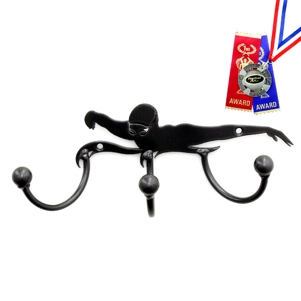 Swimmer Award Hook Medal Display: Set Of 2 Wall-mounted Metal Art Awards With Hooks